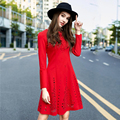 Elegant hollow out Solid knitted women dress Casual O-neck long sleeve Cotton vestidos femme big swing ladies sexy mini robe
