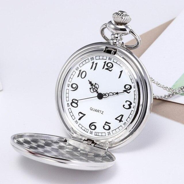 Unisex Retro Pocket Watch Fashion Bronze Chain Necklace Mirror Silver Pocket Wat