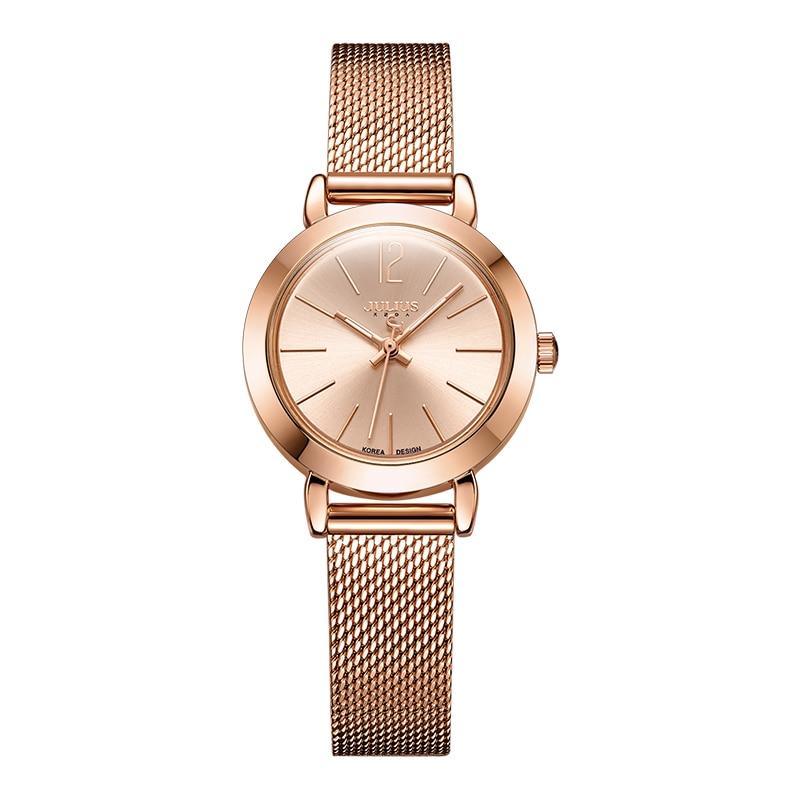 JULIUS JA-732 Female Women's Silver Rose Gold Tone Mesh Stainless Steel Quartz Analog Waterproof Fashion Watch Casual Wristwatch