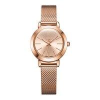 JULIUS JA 732 Female Women's Silver Rose Gold Tone Mesh Stainless Steel Quartz Analog Waterproof Fashion Watch Casual Wristwatch