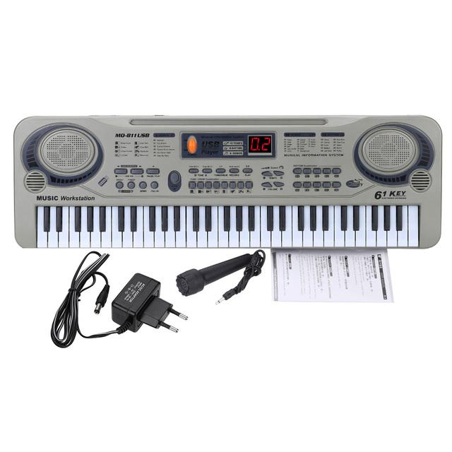 Niños de 21 pulgadas Principiante 61 Teclas Del Teclado Eléctrico Piano Organo Electone LED MP3 USB y Micrófono de Juguete Educativo Para Niños regalo