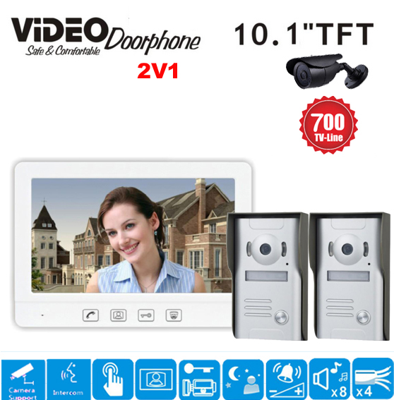 ZHUDELE Brand 10.1 Color Video Intercom Door Phone System 1 White Monitor 2 Waterproof D ...