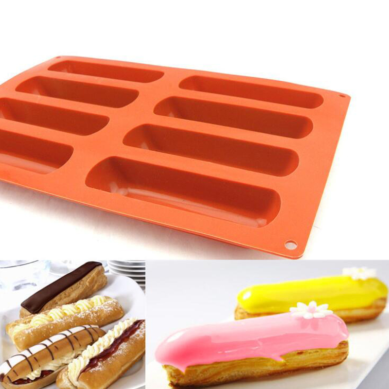 8 Cavity Cake Tools Silicone Classic Collection Shapes Finger Orange Non Stick Eclair 8 Forms Silicone Baking Mold