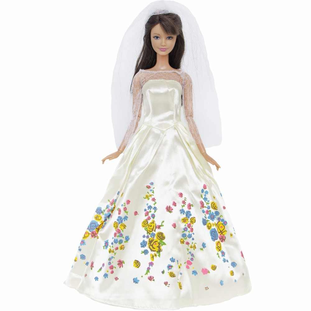 """Conto de fadas vestido de princesa branco vestido de casamento com véu roupas para boneca barbie 11.5 """"12"""" fantoche jogar casa brinquedos criança amor"""