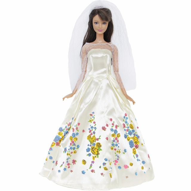 fd95dd751468 Fairy Tale Princess Dress Copy Cinderella White Wedding Gown Veil For Barbie  Doll 11.5