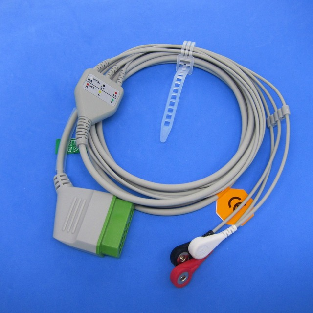 snap on terminal nihon kohden ecg 3 lead one piece ecg cable and leadwires