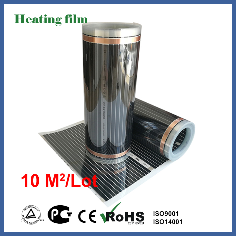 TF Far infrared floor heating film 10 square meters, 220V carbon fiber floor heating film for living room heating free to norway 50m2 ptc carbon heating film 220v 110w best for under floor heating systems self regulating far infrared film