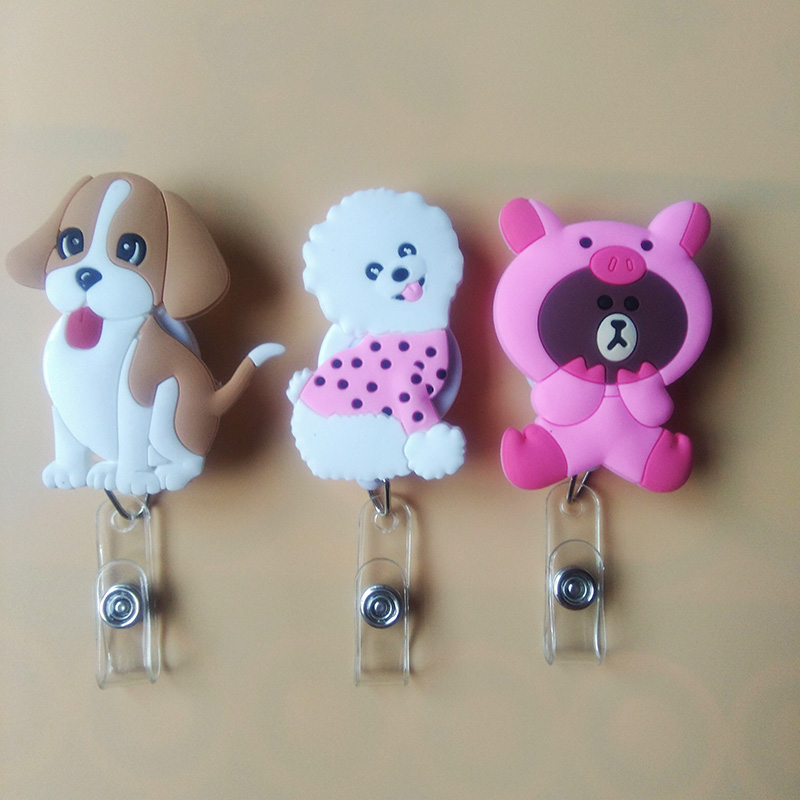 1Pcs/lot Lovely Dog  Silica Gel Cartoon Badge Reel  Student Nurse Bus Card ID Name Card  Badge Holder 2018 New Office Supplies