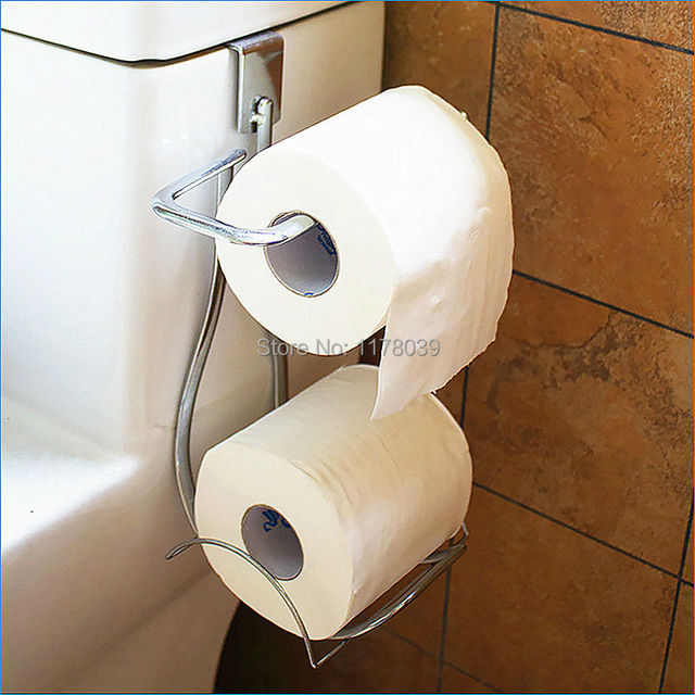 Bathroom 2 Roll Toilet Paper Holder No Drilling Towel Door Back