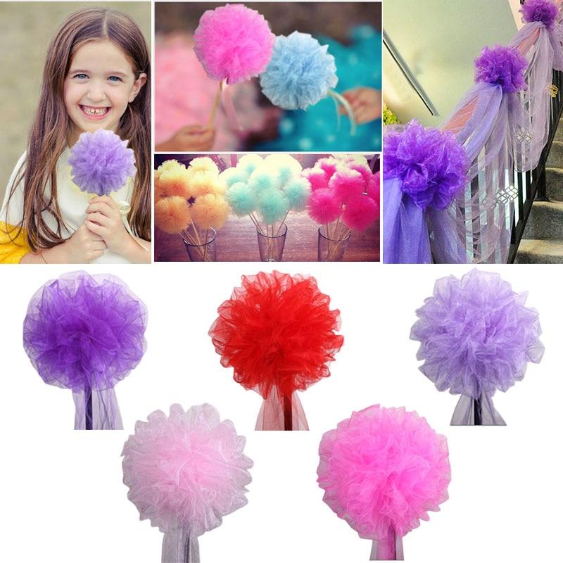 1pc 20/30cm Crystal Tulle Pom Poms Artificial Flower Ball Pompom For Home Garden Wedding Birthday&Wedding Car Decoration