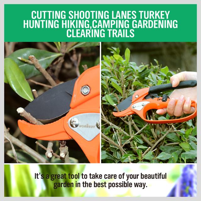 HORUSDY Metal Labor-saving Garden Ratchet Pruning Fruit Tree Pruning Shears  8 inch Gardener Pruner Cutting Tool Pruning Scissor