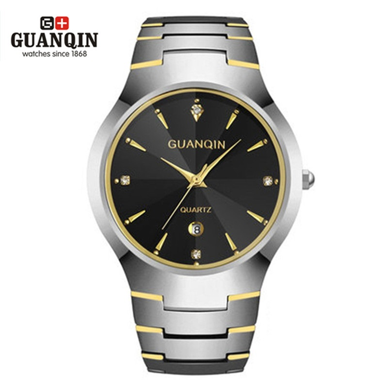 2018 GUANQIN Men Watch Tungsten Steel Watch 30 m Waterproof Quartz Watch Luxury Brand Men Analog Wristwatches Men Clock Watches