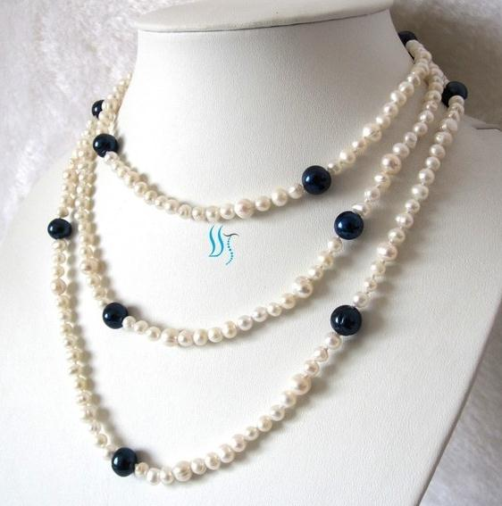 Real Pearl Necklace 54 inches 4-9mm White Navy Freshwater Pearl Necklace New Free ShippingReal Pearl Necklace 54 inches 4-9mm White Navy Freshwater Pearl Necklace New Free Shipping