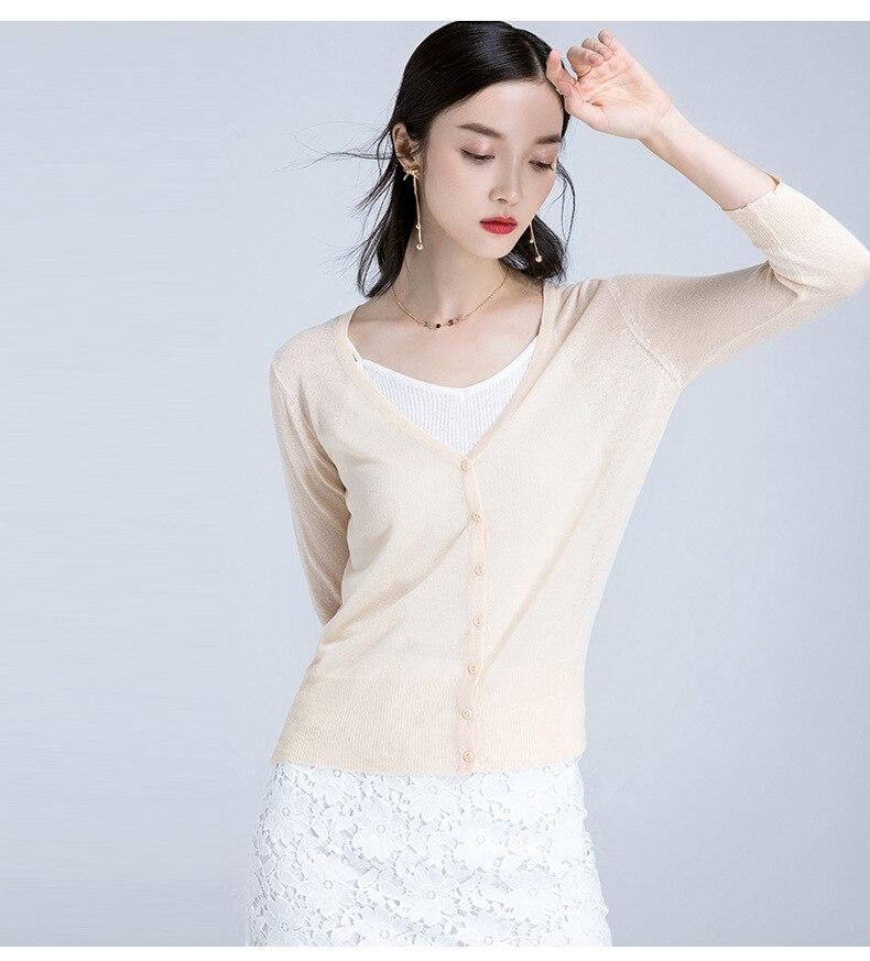 ac6abd6d1d Hot sprzedaż kobiety lato Podstawowe stylu wygodne Merceryzowanej bawełny  mieszane Trzy czwarte cienkie Multi color sweterek na drutach