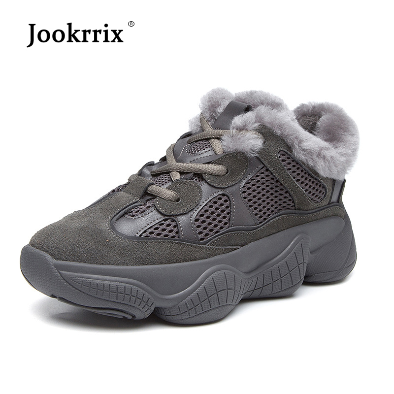 Jookrrix 2018 Casual Shoes Women Fashion Brand Platfrom Sneakers Lady chaussure Female Winter New footware Cross-tied with Fur