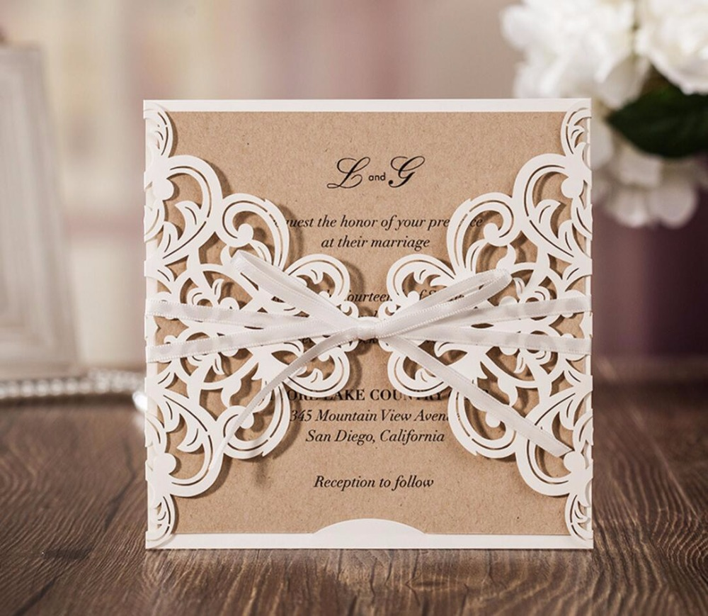 Rustic Theme Laser Cut Wedding Party Invitation Cards White