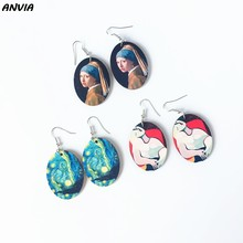 Vincent Van Gogh Drop Earrings VIntage Wood Paintings Women Oval Starry Sky Jewelry Hook Earring Portraits Statement Jewelry(China)