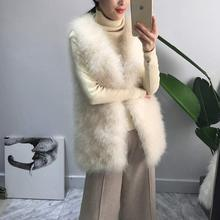 Long Real Fur Gilet Hand-knitted Natural Ostrich Feather Fur Waistcoat High Quality Genuine Fluffy Fur Fever Vest Charcoal Grey