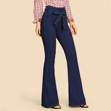 Tie Waist Flare Hem Jeans Women Denim Trousers Vintage ladies Clothes Fall High Waist Pants Belted Stretchy Jeans wide leg jeans belted cuff mixed print stepped hem blouse