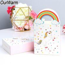 e49b4b5b5 OurWarm 10 piezas unicornio bolsas de regalo con asas bolsa de papel Kraft  para el embalaje del regalo del caramelo bolsas unico.