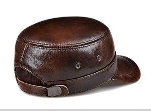 Image 4 - RY0108 gorras de béisbol planas de piel auténtica para hombre, gorras de béisbol planas en color negro/marrón, de 54 62 cm, tamaño personalizado, para exteriores, Snapback, sombrero de Golf