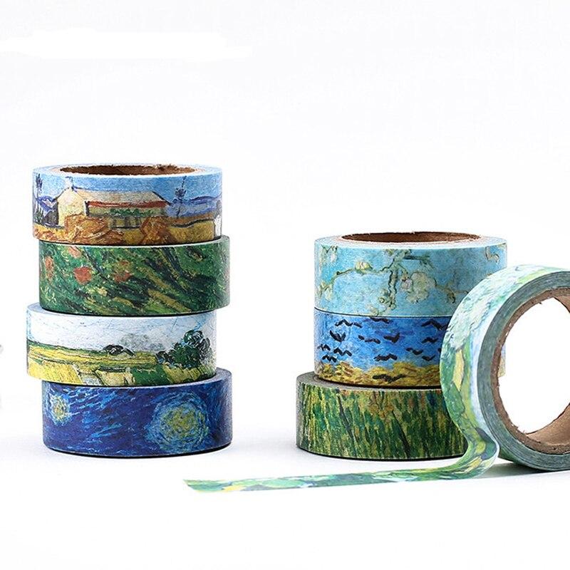 1 Pcs Washi Tapes DIY Van Gogh Painting Paper Masking Tape Decorative Adhesive Tapes Scrapbooking Stickers Size 15 Mm*7m JD40