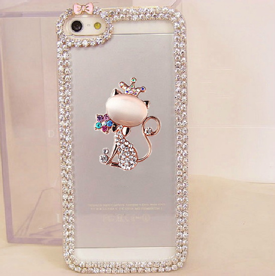 3D Bling Rhinestone Crown Cat Bow Chain Phone Cover for Samsung A8 S4 S5 mini S6 S7 Edge Note 3 4 5 7 iPhone 4s 5S 5C 6S 7 Plus