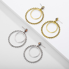 Simple fashion gold color Silver plated geometric big round Retro earrings for women hollow drop jewelry