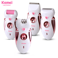 4 in1 Depilator Rechargeable Multifunctional Women Shaver Electric Epilator Hair Removal Foot Care Tool battery power KM-2530