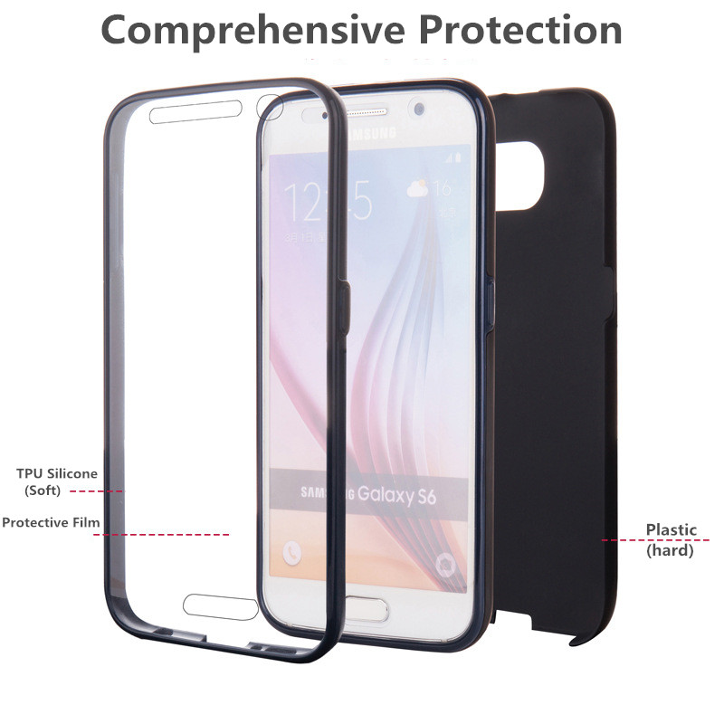 Fundas For Samsung S6 Edge Case Silicon Tpu Plastic 3 In 1 Material Cover Galaxy S 6 Full Protector Touch Screen Coque Phone Bag