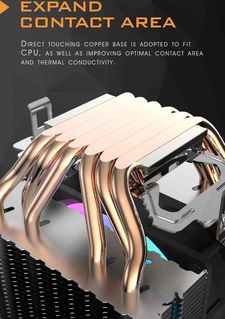 Aigo dark flash وحدة المعالجة المركزية برودة 6 أنابيب الحرارة مع led مروحة 3pin 90 مللي متر وحدة المعالجة المركزية مروحة يمكن ins للكمبيوتر 775/LGA/2011/115x/1366 AM2/AM3/AM4