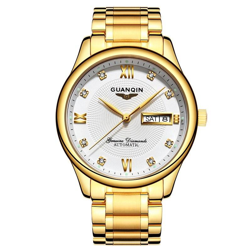 GUANQIN luxe doré hommes montre top marque montre automatique hommes calendrier semaine saphir étanche montres mécaniques avec zircons