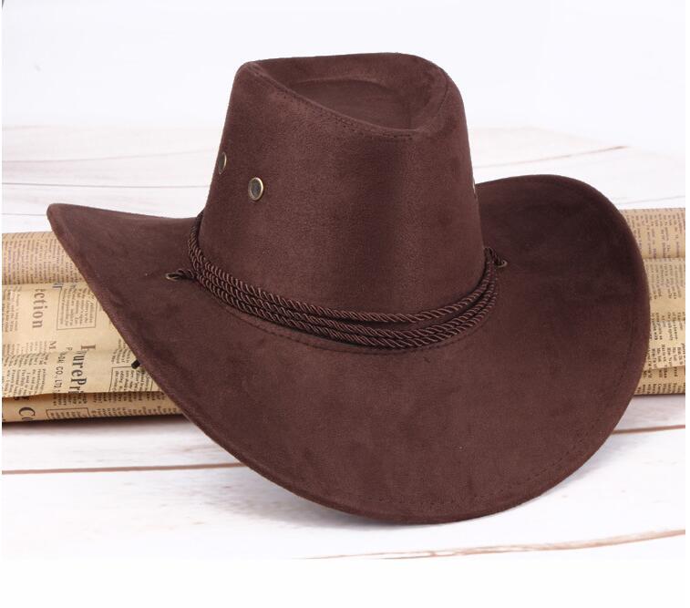 9420d01b503e9 ... para hombres y mujeres Casual occidental Vintage de cuero de ala ancha  Sombrero de fiesta Sombrero Hombre Cappello Uomo M0204. Adecuado  58 cm