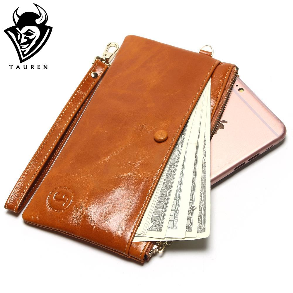 Mobile Phone Packet 7 Color Womens Slim Wallets Oil Wax -6402
