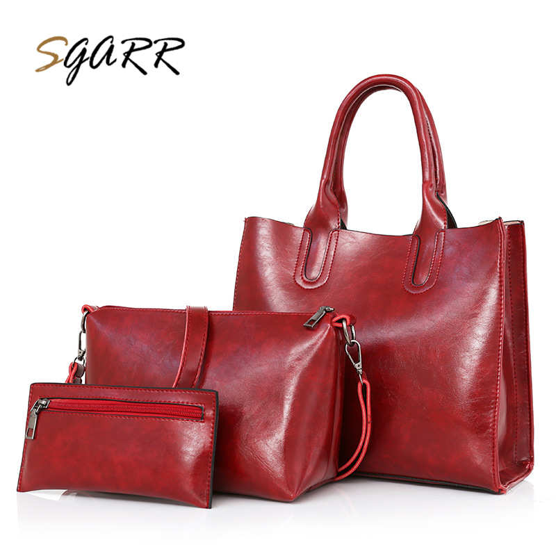 SGARR Famous Brand Women Handbag Luxury Bag Composite Bag 3-Pieces Purse Solid Vintage Leather Pu Big Tote Shoulder Clutch Bag