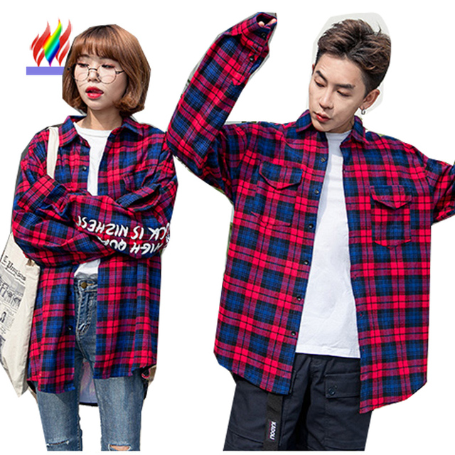 9703a68e Matching Couple Clothes Lovers Korea Red Plaid Shirt Preppy Style Female  Male Long Sleeve Casual Tops