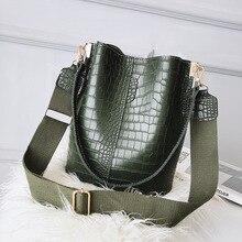 Alligator Women Bucket Bags Crocodile Pattern Large Capacity Handbag Casual Retro Shoulder Messenger Bags Ladies PU Purse Sac