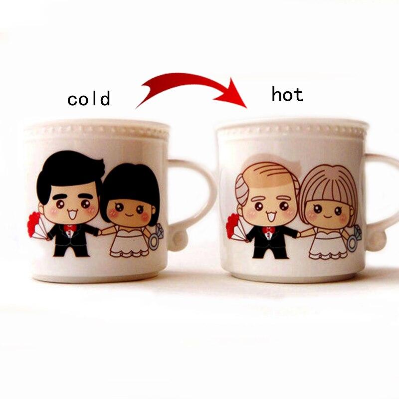 Creative Spend A Lifetime Loving You Magic Color Changing Ceramic Mug Heat Sensitive Bone China Milk Coffee Mug Valentine Gift