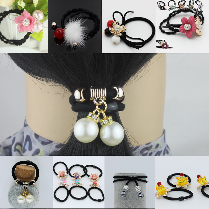 Rhinestones Ponytail Hair Band Rope Hair Clips For Women Headwear Pearls Elastic Rubber Bands Hair accessory gum for hair lnrrabc women imitation pearls butterfly hair rope charm crystal rubber headband ponytail gum elastic hair bands headband gift