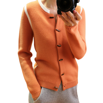 100%goat cashmere women's fashion boutique short cardigan sweater coat horn buckle low Oneck S-2XL wholesale retail