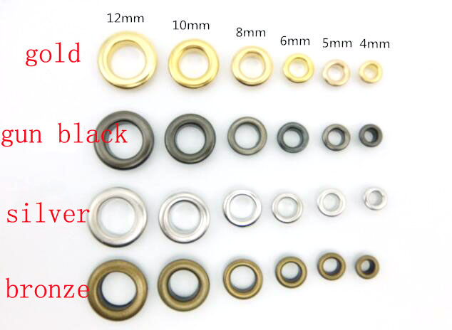 inner dia hole size 4mm&5mm&6mm&<font><b>8mm</b></font>&10mm&12mm Eyelets For Apparel And Scrapbook Color Metal For Garment Eyelet For Bag100sets image