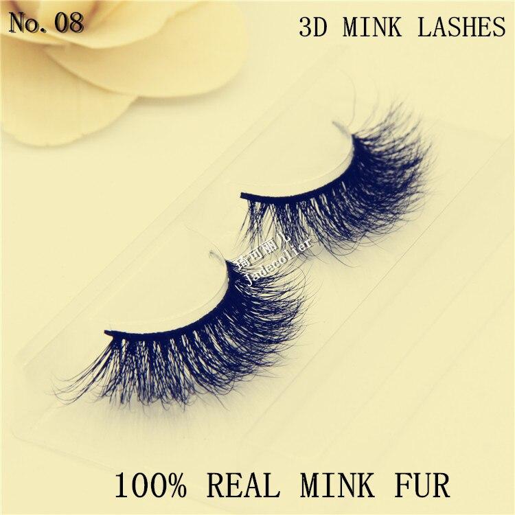 Ny stil charmerende 1 par 100% 3D ægte mink pels tyk lang blød - Makeup - Foto 1
