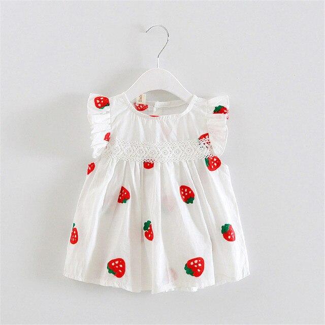 63073850d221a Nedensel Yaz Bebek Kız Elbise Çiçek Meyve Elbiseler Kızlar Için Pamuk Baskı  Kolsuz Yüksek Kalite Tatil