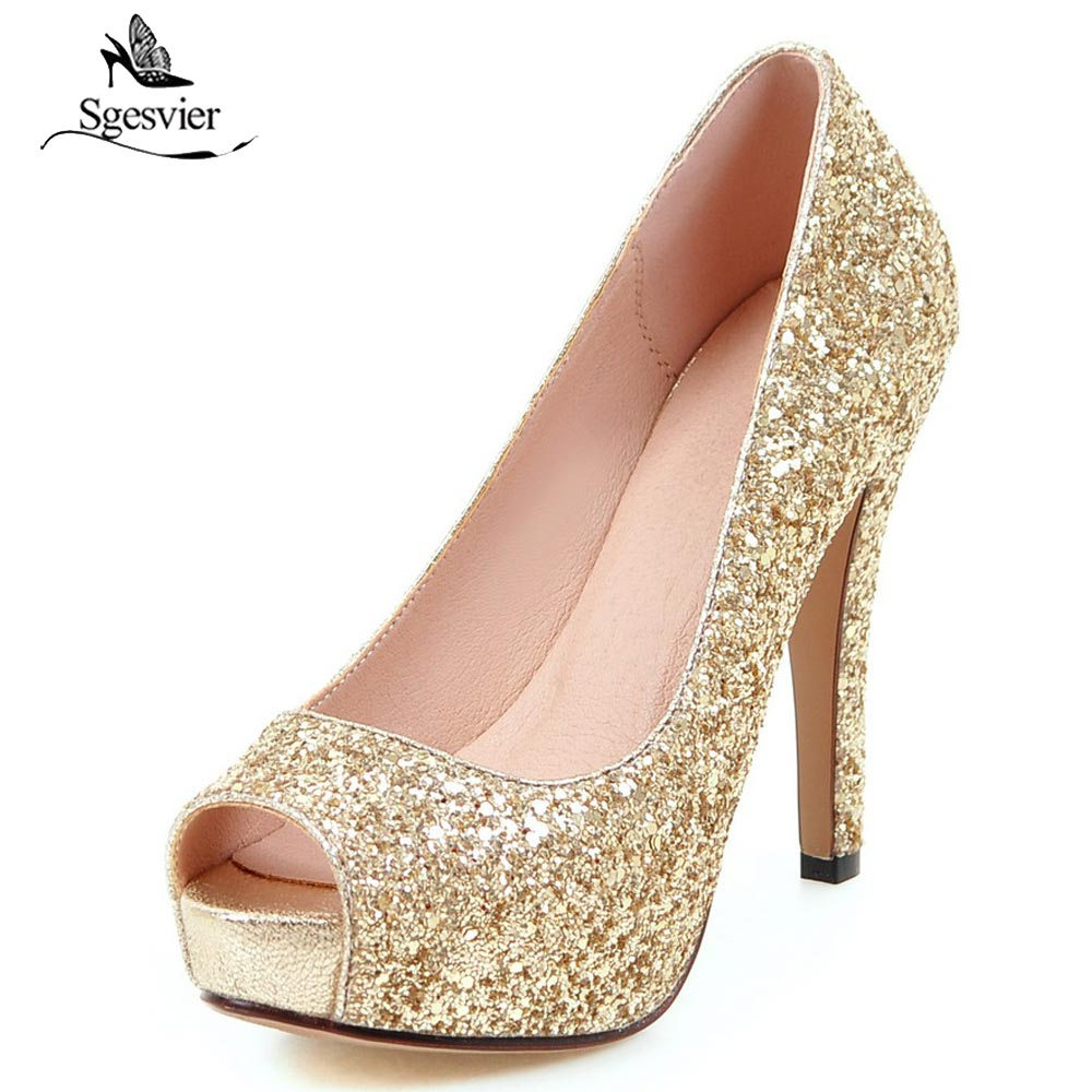 Sgesvier Sexy Super Thin High Heel Glitter Peep Toe Women Pumps Ladies Prom Bling Platform Shoes Elegant Autumn Single Shoe B429