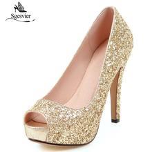Sgesvier Sexy Super Thin tacón alto brillo Peep Toe mujeres bombas damas  Prom Bling plataforma Zapatos dd97f64b53eb