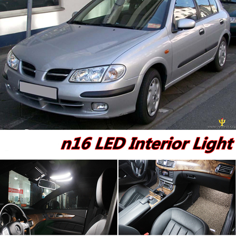Tcart 6X Error Free Car LED Bright Vehicle Interior Map Dome Door Lights Kit Package For Nissan Almera N16 Accessories 2000-2006