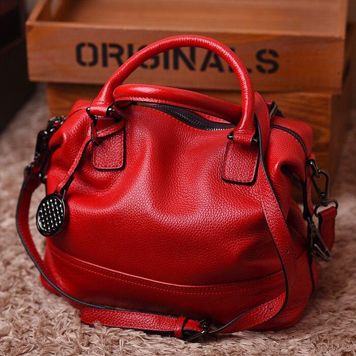 WOONAM Women's Top Grain Cowhide Leather Medium Boston Shopper Tote Handbag Bag WB228