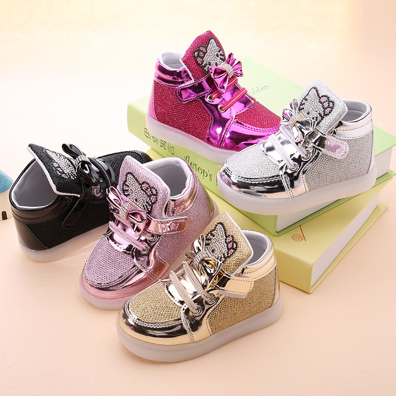 Children Luminous Shoes New Spring Hello Kitty Rhinestone LED Shoes Girls Princess Cute Kids Shoes With Light EU Size 21-30
