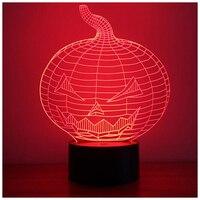 Pumpkin 3D Optical Illusion Desk Lamp 7 Colors Change Touch Button USB Nightlight Produces Unique Visualization