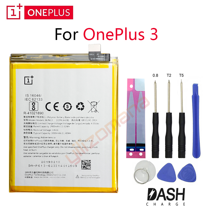 ONEPLUS Original Phone Battery For Oneplus 3 A3001 BLP613 2900/3000mah High Quality Replacement Li Ion Batteries Free Tools